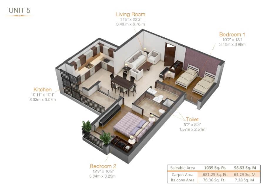 kiara residency apartment 2bhk 681sqft 1
