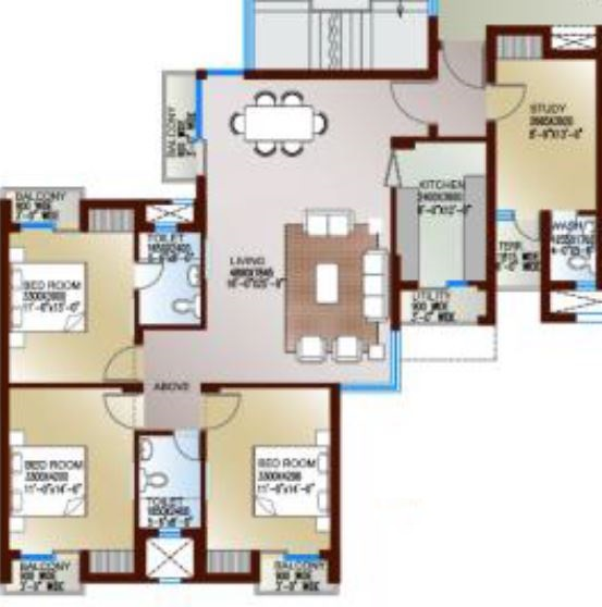 levana celebrity meadows apartment 3bhk st 1970sqft 1