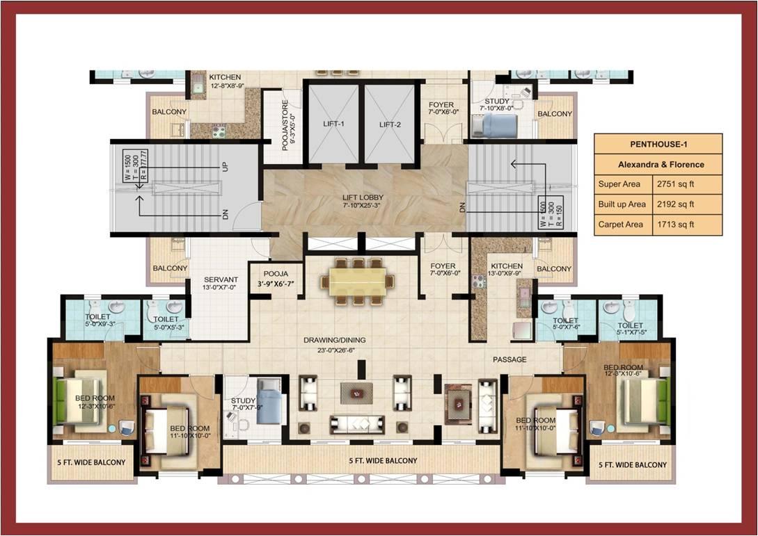 omaxe grand omaxe penthouse 4bhk 2751sqft31