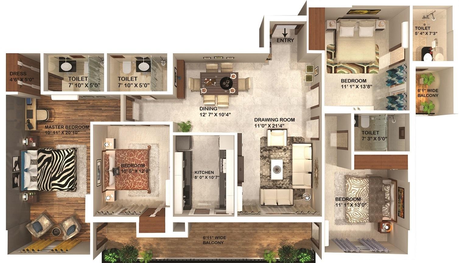 omaxe kingston apartment 4 bhk 2287sqft 20200229120225