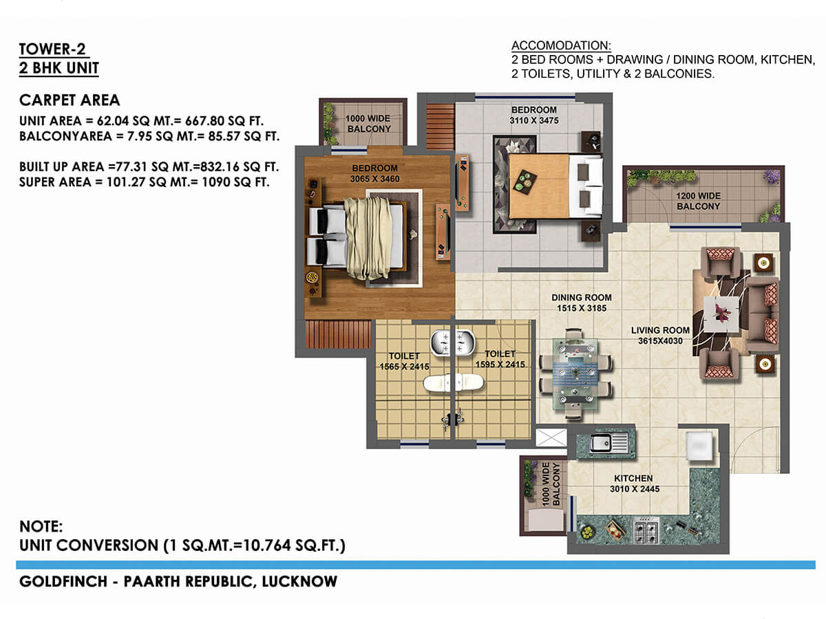 paarth goldfinch state apartment 2bhk 667sqft 1