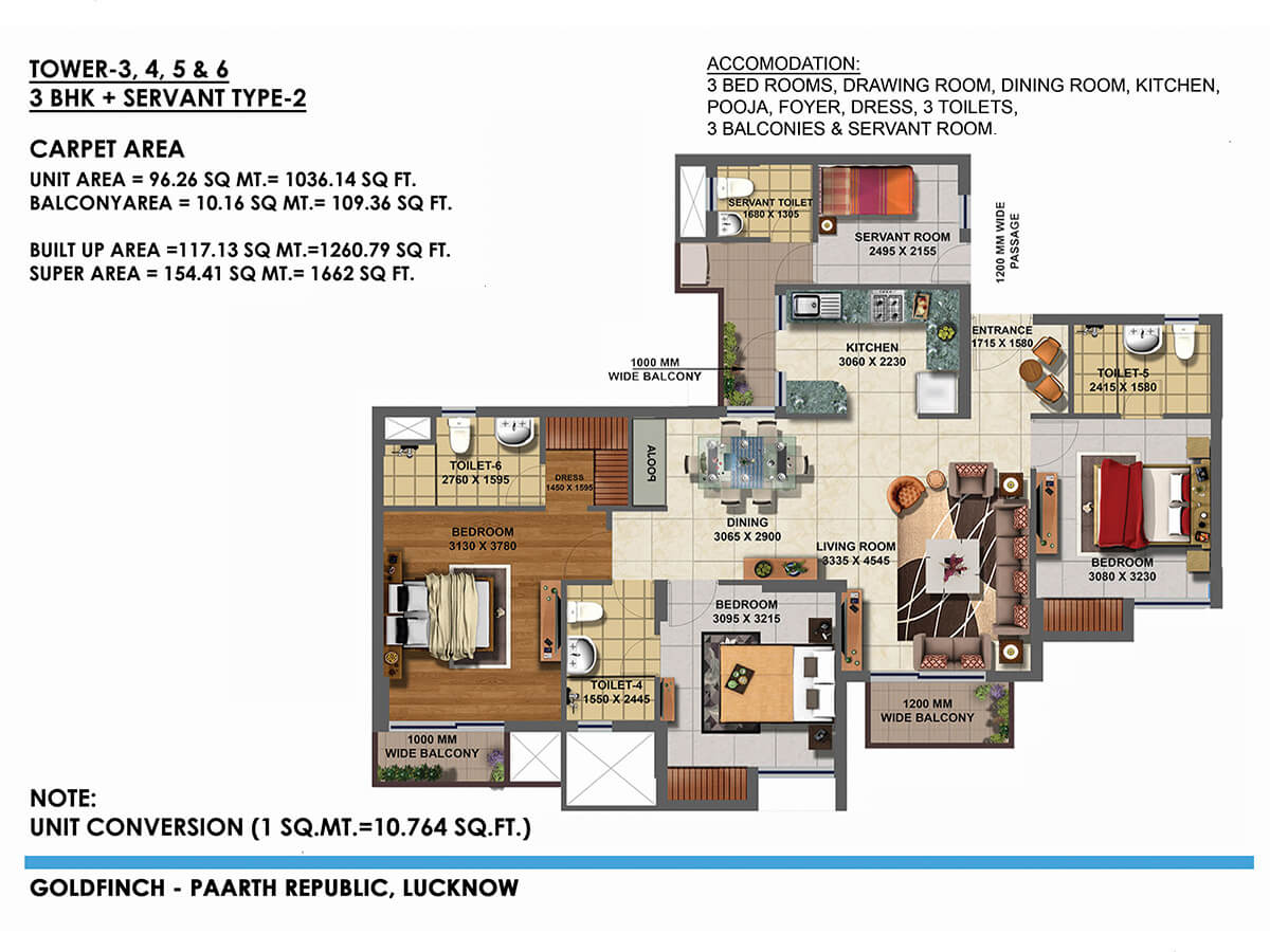 paarth goldfinch state apartment 3bhk 1036sqft 1