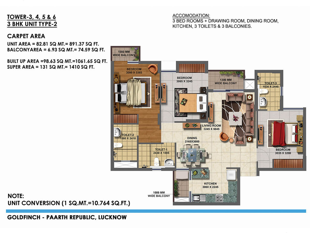 paarth goldfinch state apartment 3bhk 891sqft 1