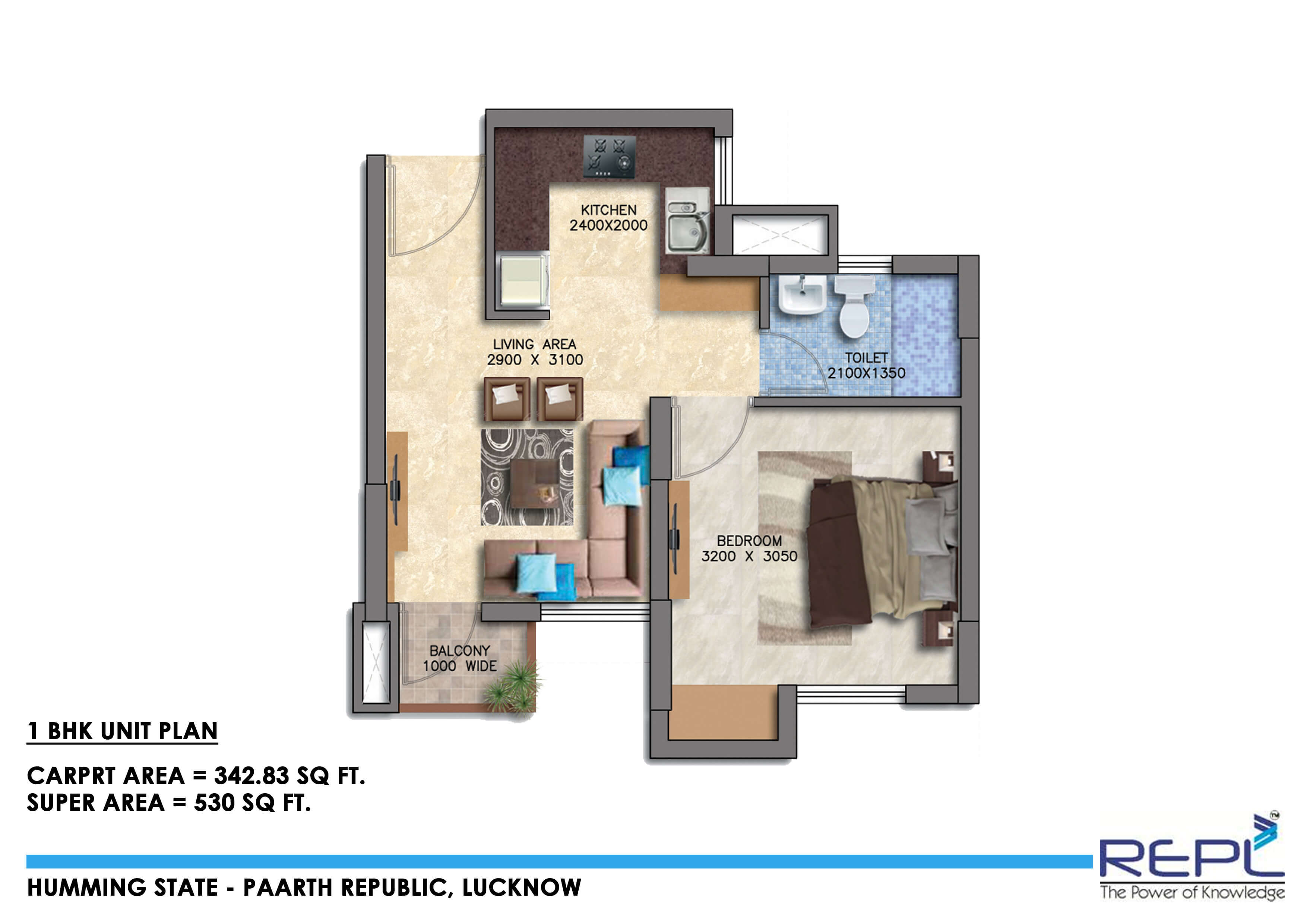paarth humming state apartment 1bhk 530sqft 1
