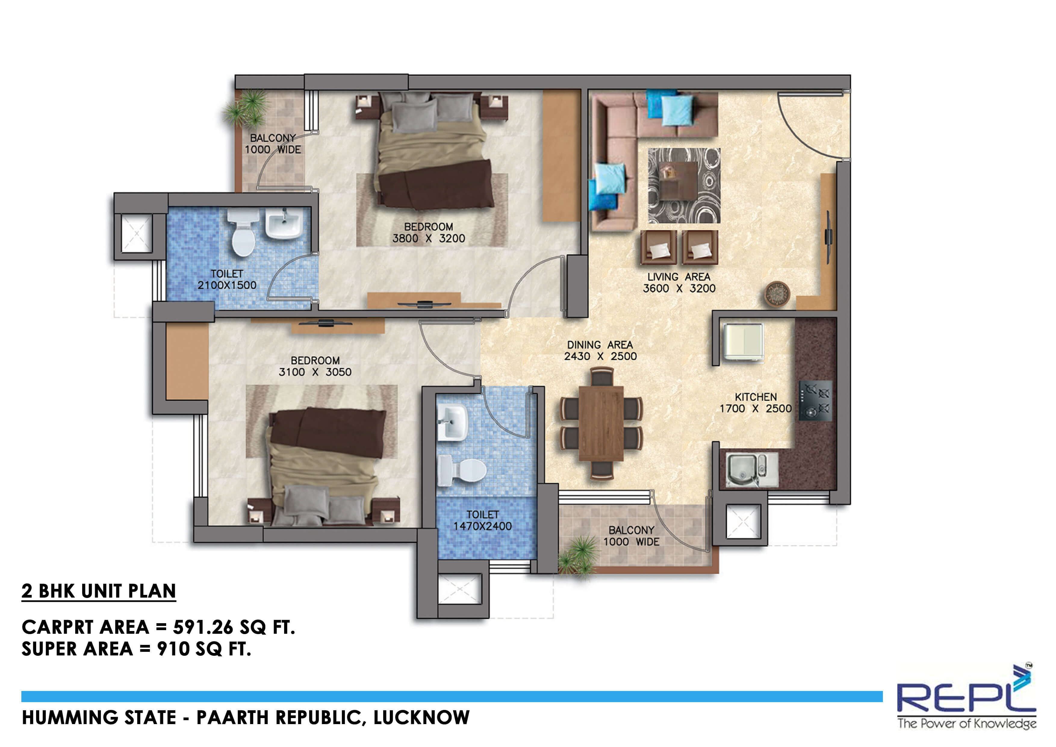 paarth humming state apartment 2bhk 910sqft 1