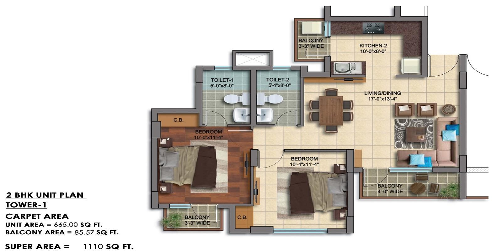 paarth republic carnation tower apartment 2bhk 1110sqft 21