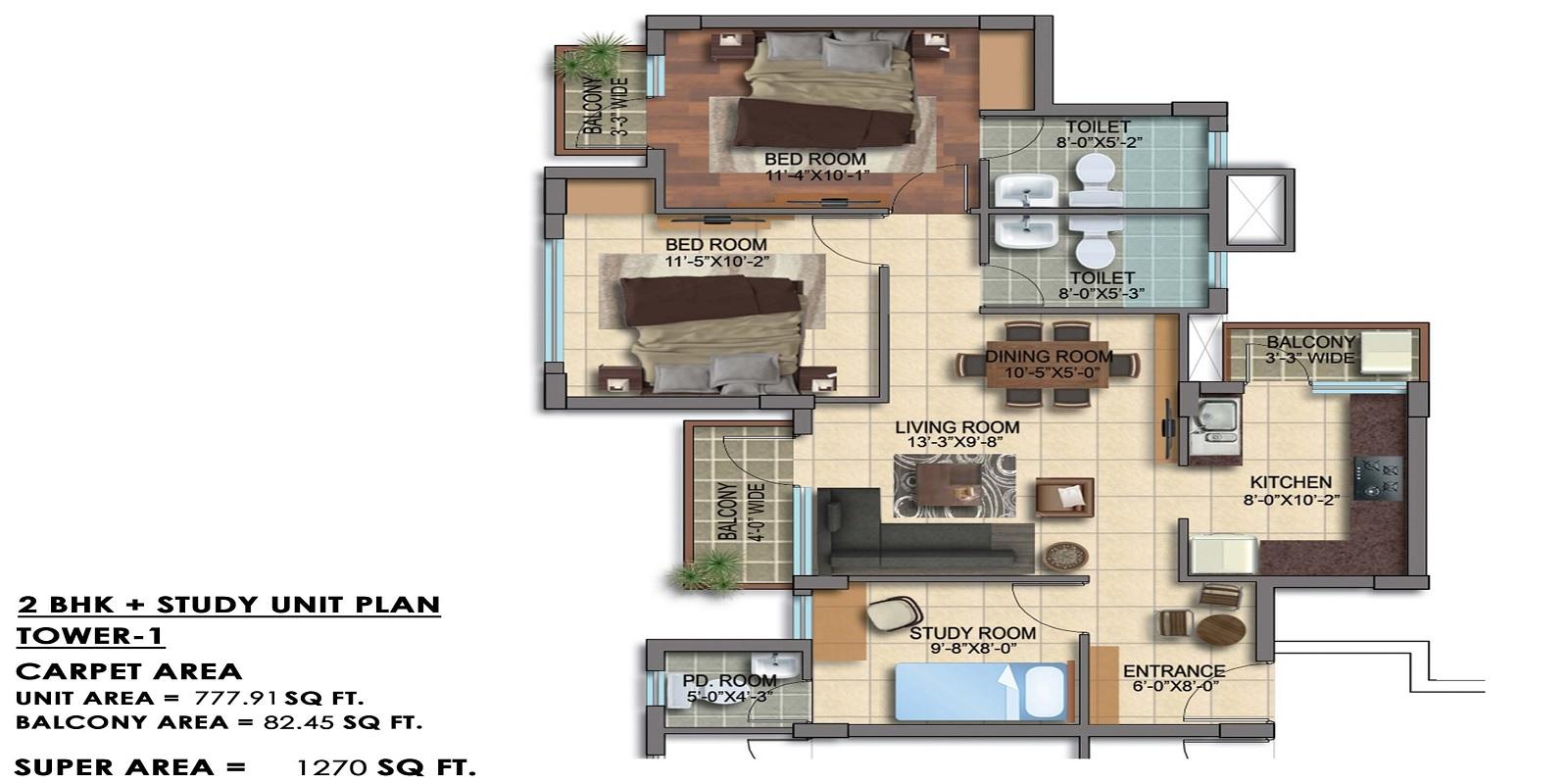 paarth republic carnation tower apartment 2bhk st 1270sqft 21
