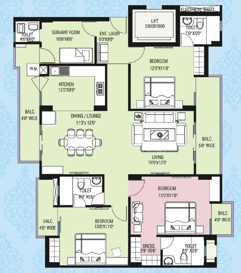 purvanchal kings court apartment 3bhk sq 1290sqft 1