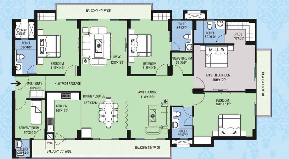 purvanchal kings court apartment 4bhk sq 1895sqft 1