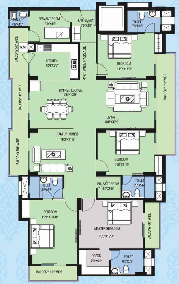 purvanchal kings court apartment 4bhk sq 1900sqft 1