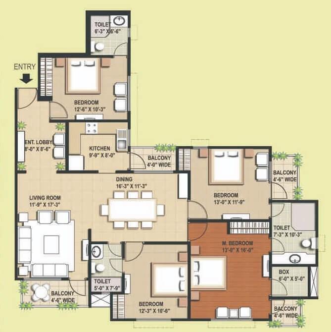 rg euphoria apartment 4bhk 1326sqft 1