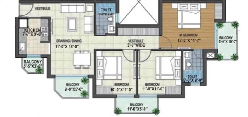rishita manhattan apartment 3bhk 886sqft 1