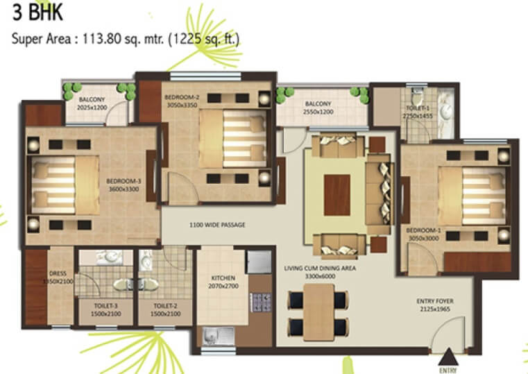 shalimar mannat apartment 3bhk 1225sqft1