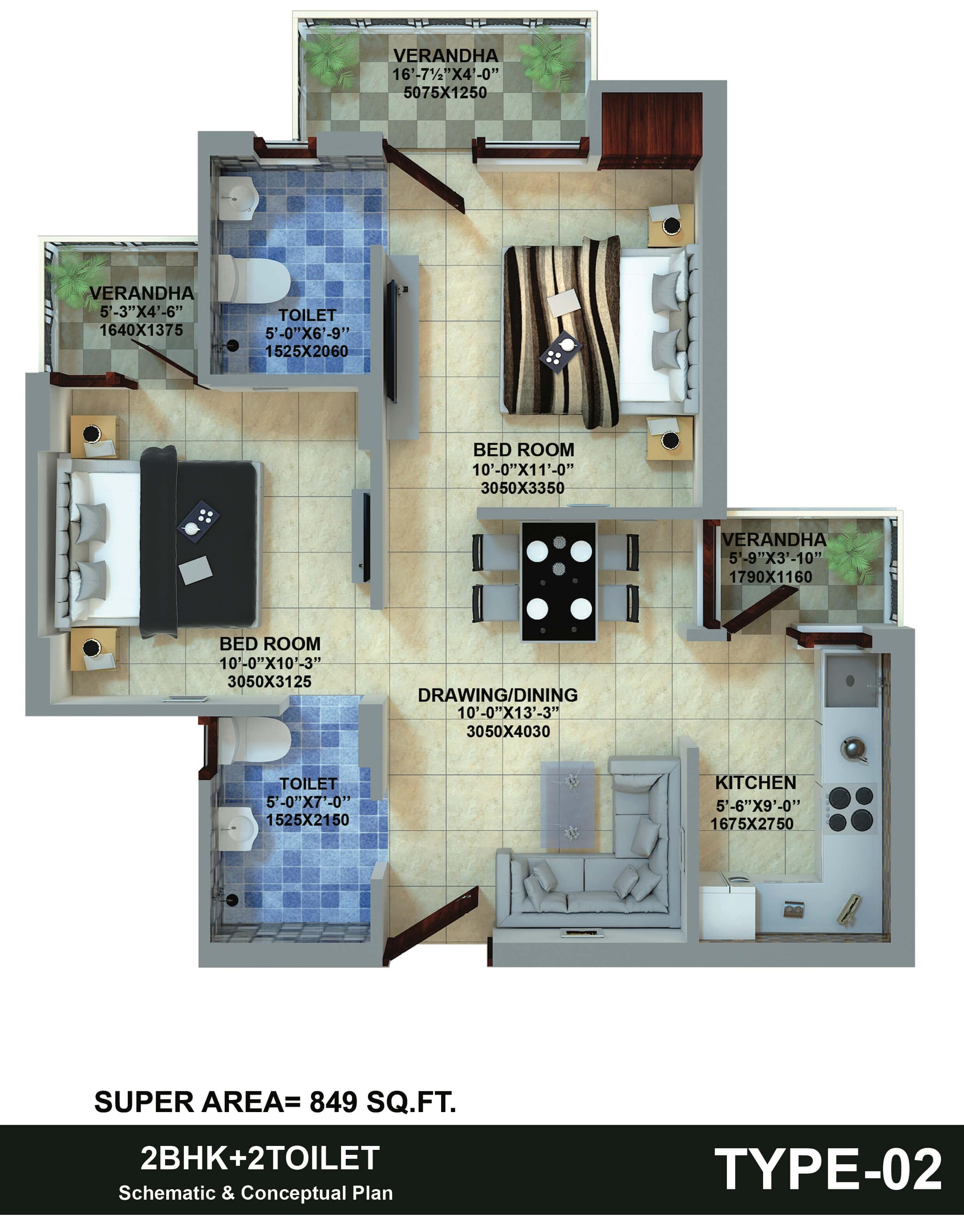 insprosper new saket apartment 2bhk 849sqft1