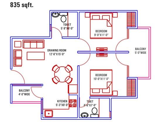 supertech palm greens apartment 2 bhk 835sqft 20213125223138