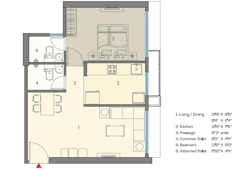 a and o eminente phase 2 apartment 1bhk 455sqft 1
