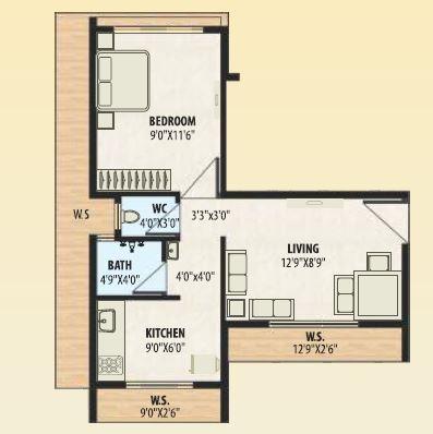 a plus golden corner apartment 1bhk 385sqft 71
