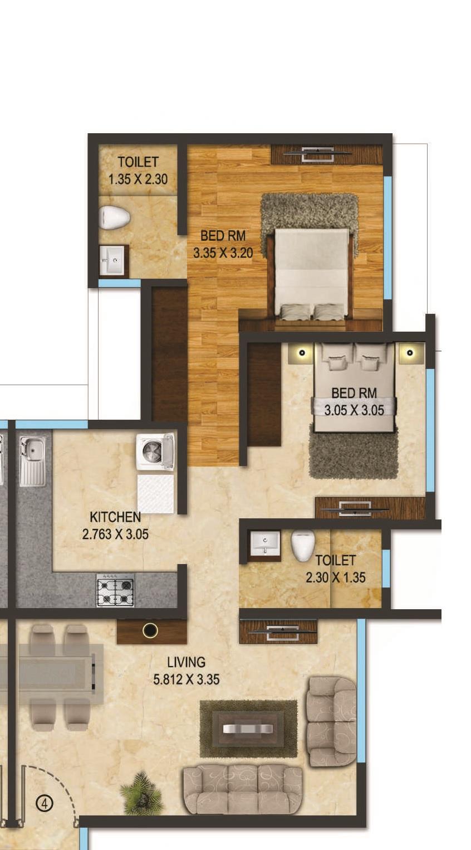 acme hills apartment 2bhk 652sqft 1