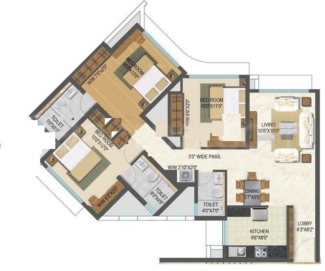 3 Bhk 1362 Sq Ft Apartment For Sale In Acme Ozone At Rs 1 63 Cr Mumbai