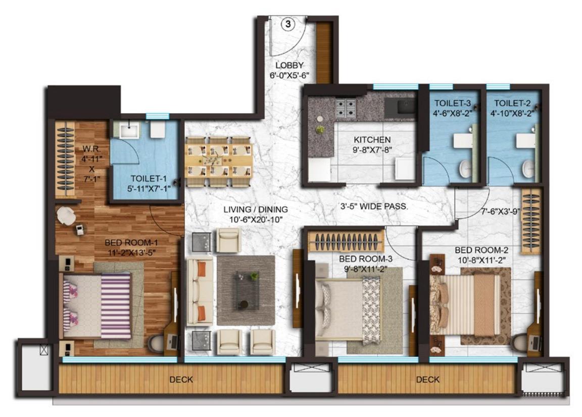 adani western heights sky apartments apartment 3bhk 1696sqft 1