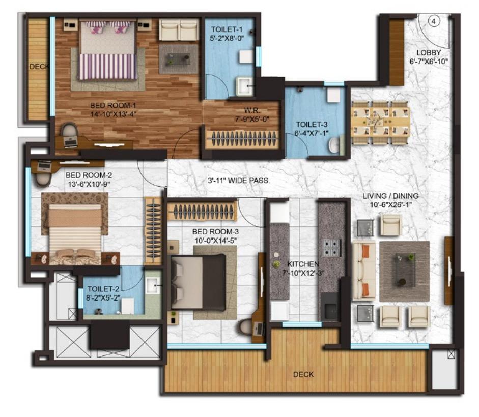 adani western heights sky apartments apartment 3bhk 1761sqft 1