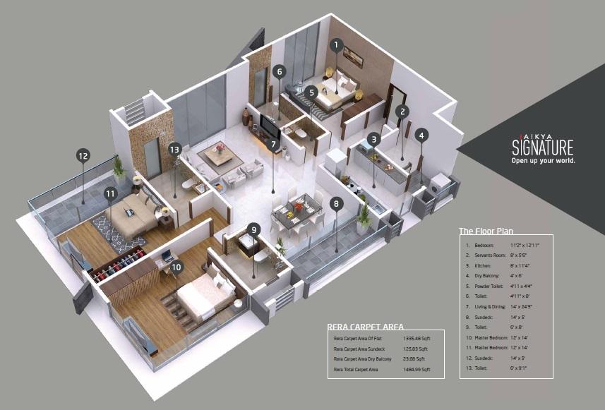 aikya signature apartment 3 bhk 1335sqft 20203922113944