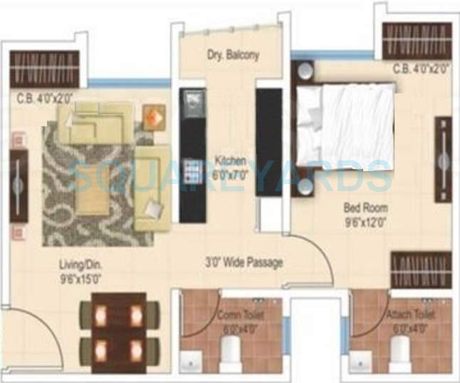 ajmera heritage city apartment 1bhk 621sqft1