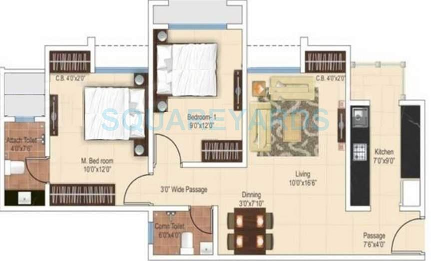 ajmera heritage city apartment 2bhk 927sqft1