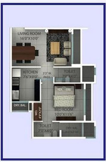 ajmera onyx apartment 1bhk 598sqft 1