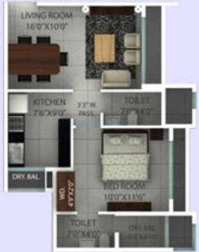 ajmera opal apartment 2bhk 595sqft 1
