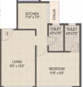 akshar evanna apartment 1bhk 725sqft 1