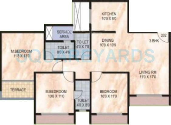 3 Bhk 1680 Sq Ft Apartment For Sale In Akshar Green World At Rs