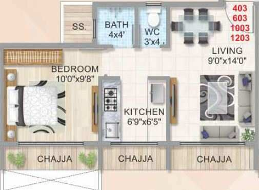 ana zillion tower apartment 1bhk 665sqft 1