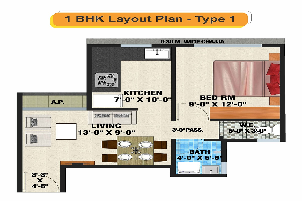 arihant amber apartment 1bhk 352sqft 1