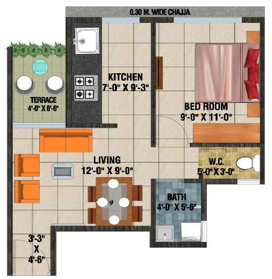 arihant anaika phase 3 apartment 1bhk 330sqft 1