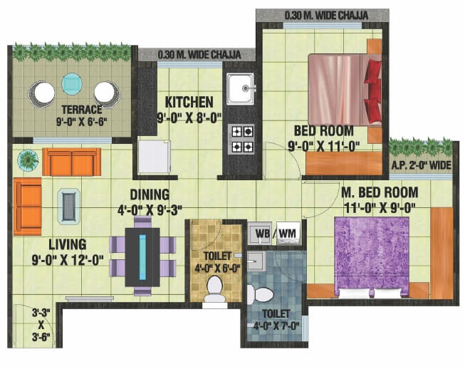 arihant anaika phase 3 apartment 2bhk 507sqft 1