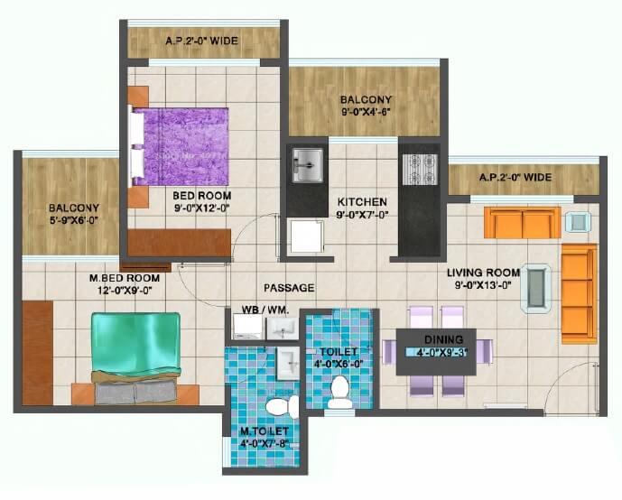 arihant anaika phase ii apartment 2bhk 545sqft 1