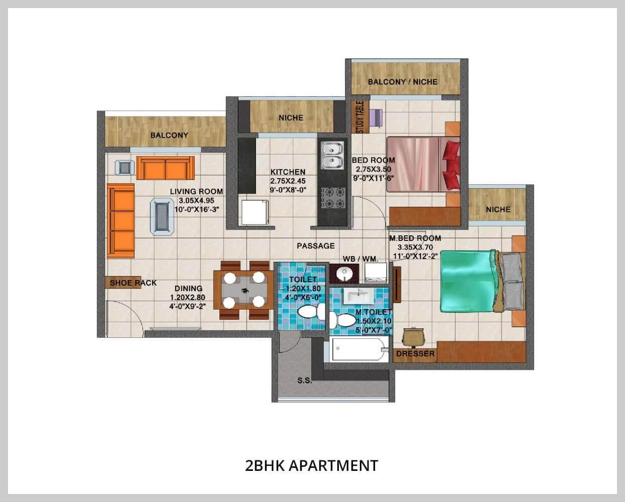 arihant aspire apartment 2bhk 1205sqft 1