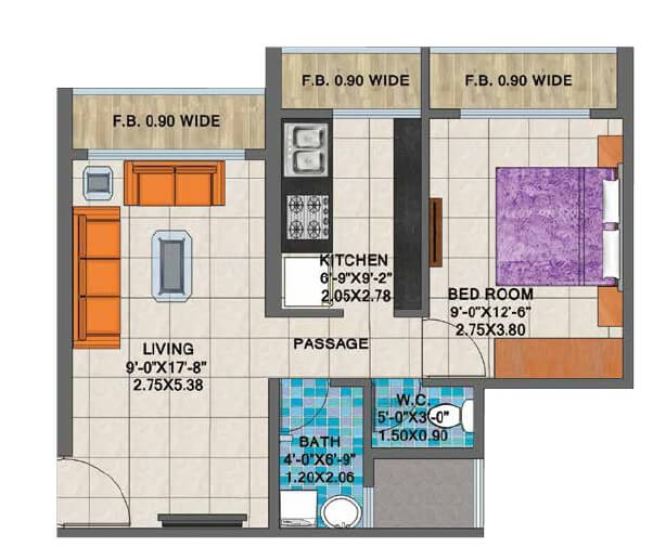 arihant clan aalishan apartment 1bhk 765sqft 1