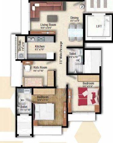 arkade adornia apartment 2bhk 614sqft 1