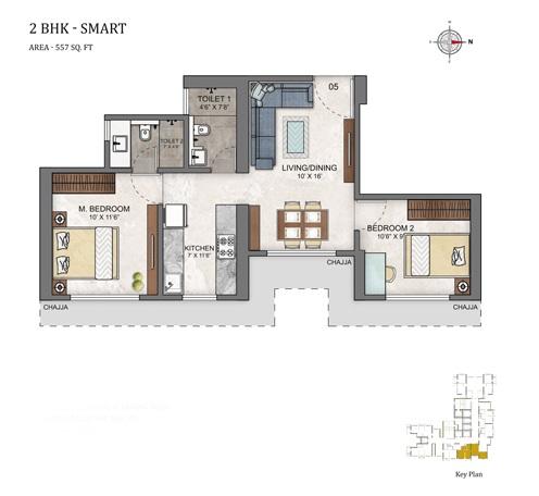 ashar maple birch apartment 2bhk 557sqft41
