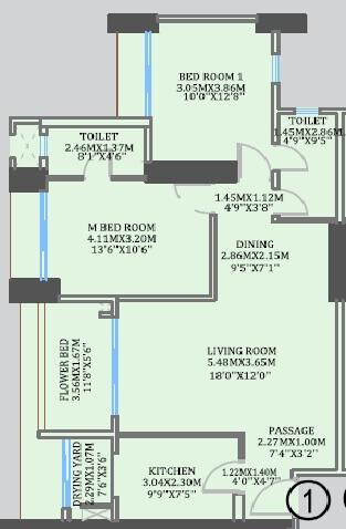 cci rivali park apartment 2bhk 901sqft 1