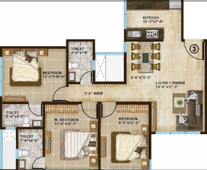 chandak paloma apartment 3bhk 1330sqft 51