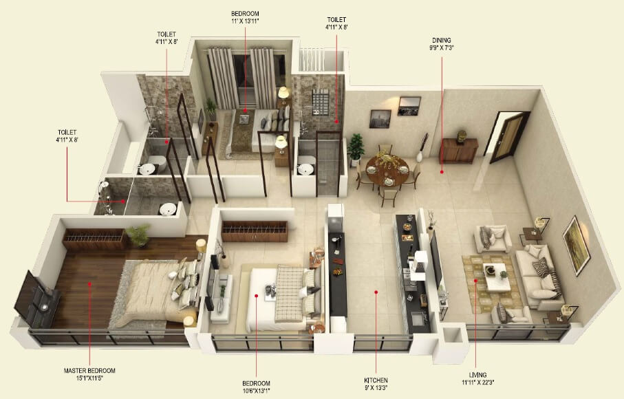concrete sai samast apartment 3bhk 1062sqft 1
