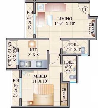cosmos 27 gbr apartment 1bhk 438sqft 1
