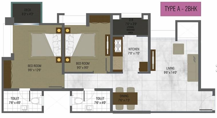 db orchid ozone apartment 2 bhk 882sqft 20205711155722
