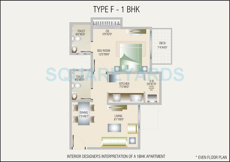 db realty orchid ozone apartment 1bhk 875sqft1