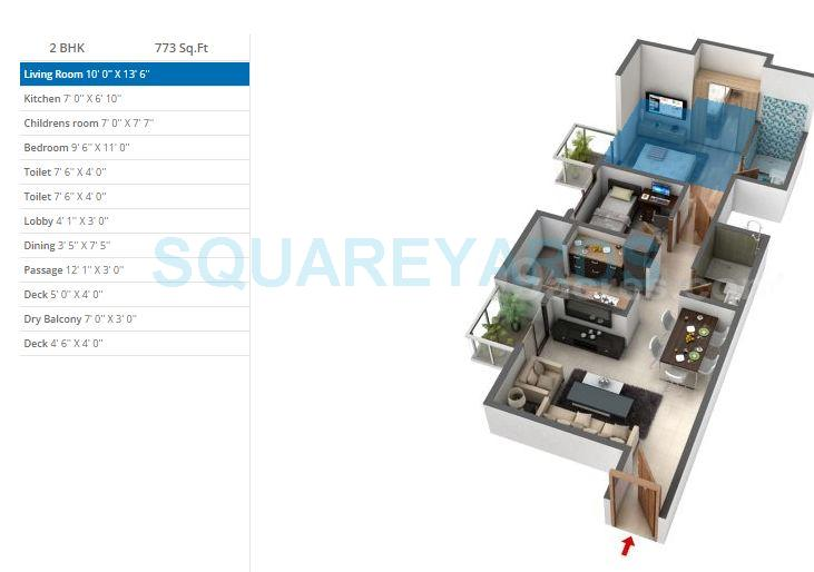 db realty orchid ozone apartment 2bhk 773sqft1