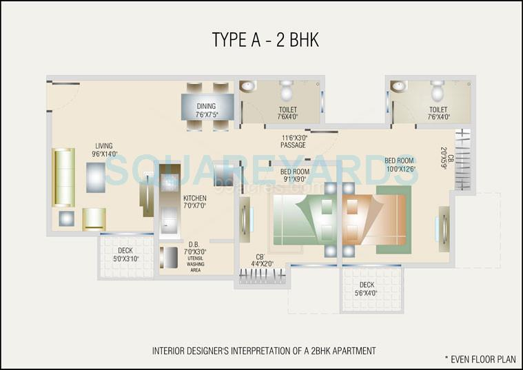 db realty orchid ozone apartment 2bhk 878sqft1