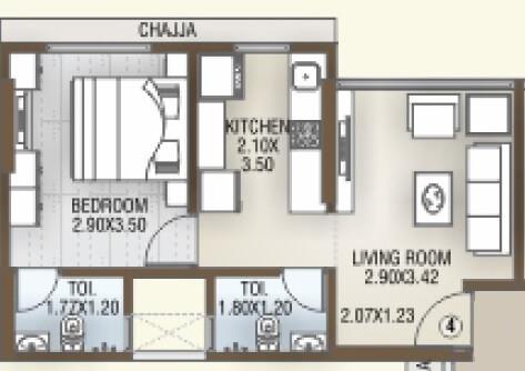 dgs sheetal tapovan apartment 1bhk 340sqft 1